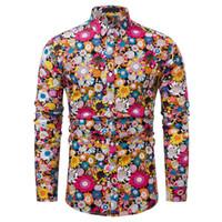 neue kleidhemden entwürfe großhandel-Neue Ankunft Mann Shirt Muster Design Langarm Floral Blumen Print Slim Fit Mann Freizeithemd Mode Hemden