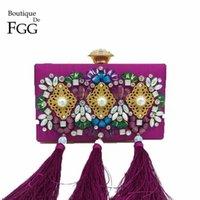 ingrosso borse viola nozze-Boutique De Fgg Donne in rilievo di cristallo Purple Satin nappa borse da sera Fashion Wedding Party Metal Day frizioni borsa della borsa
