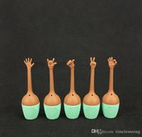 tetera de mano al por mayor-Colador de té estilo gestual Tetera creativa con gestos con las manos Pulgar ok sí palma de te amo infusor de té de silicona