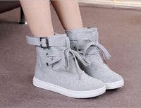 Wholesale korean canvas shoes for women resale online - XWWDVV New high top canvas shoes for women Korean flat with lace up women s shoes for students