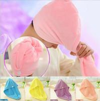 ingrosso cappelli di capelli spa-Asciugamano rapido Asciugamano in microfibra Capelli Asciugatura rapida Asciugamano avvolgere Turbante Bath SPA Cappello Cap dhl spedizione gratuita