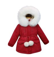 Wholesale cotton blends kids outwear coats for sale - 2019 New children Hooded Thick coat Winter girls Long Sleeve Outwear kids Fur collar jacket B11
