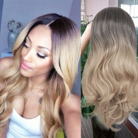 Wholesale synthetic wigs online - 22 quot Long Wavy Ombre Synthetic Wigs Black To Blonde Heat Resistant Synthetic Full Hair Wig