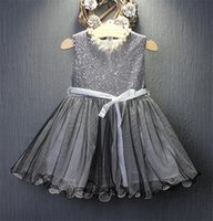 color negro chalecos chicas al por mayor-Vestido de paillette de encaje de niña 2018 Nuevo arco de la moda para niños Chaleco sin mangas vestidos de princesa Negro y gris 2 Color B11