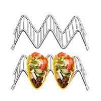 comida de cristal al por mayor-Moda de negocios Forma de Onda Cristalina Tenedor de Taco de Acero Inoxidable Tenedores de la Exhibición Cocina Rack de Comida Shell Decoración para el hogar