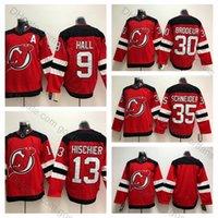 şeytan hokeyi formaları toptan satış-New Jersey Devils 30 Martin Brodeur Forması 35 Cory Schneider 13 Nico Hischier 9 Taylor Hall Dikişli Hokey Formaları Kırmızı Beyaz Dikişli