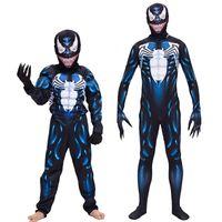 trajes de cosplay de anime meninos venda por atacado-Adulto Crianças Venom Spiderman Halloween Cosplay Desempenho Suit Venom Symbiosis Spiderman Conjoined Costume Boy Anime Role Play for Children