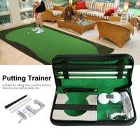 indoor-golf-trainingshilfen großhandel-Tragbare Golf Putter Putting Trainer Set Indoor-Trainingsgeräte spielt Golf Ballhalter Trainingshilfen Werkzeug mit Tragetasche