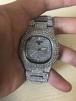 bracelet de pp achat en gros de-Geneva Nautilus 3A Montre de haute qualité en PP Tous les diamants Quartz Hommes Femmes Montre Cadran Original Fermoir Montre-bracelet en acier inoxydable