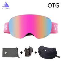 skibrille fall großhandel-OTG Skibrille mit Etui Schneesport Randlose Brille Austauschbare sphärische Linsen Doppellagiges Ski Snowboard Anti-Fog