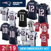 aşçı kaseleri toptan satış-12 Tom Brady 2019 Yeni Patriots Erkek Formalar 10 Josh Gordon 87 Rob Gronkowski Süper Kase LIII 11 Julian Edelman 15 Hogan 14 Brandin Aşçılar
