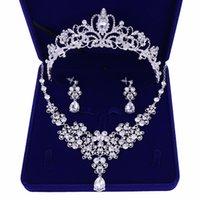 jade brincos flor colar venda por atacado-Jóias de prata banhado flores de cristal nupcial Define Declaração Crown Tiaras Colar Brincos Acessórios para casamentos festa de jóias