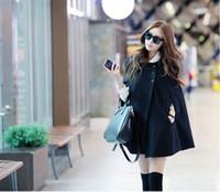 черная шерстяная накидка на зиму оптовых-Женщины Зима теплая куртка пальто Batwing шерсти вскользь пончо Свободный плащ Cape Black Outwear манто фам Plus Size