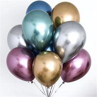 hava tahtası şişirilebilir toptan satış-50 adet / grup 12 inç Yeni Parlak Metal Inci Lateks Balonlar Kalın Krom Metalik Renkler Şişme Hava Topları Globos Doğum Günü Partisi dekoru