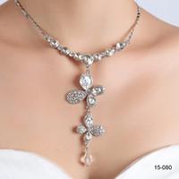 conjuntos de joyas de baile al por mayor-Collar de la joyería nupcial barata plateado aleación pedrería de cristal con encanto rodeado de boda del partido de la dama de honor del baile de novia envío