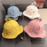 boné velho do bebê venda por atacado-O bebê cabido chapéus meninas bonito caracol pote impresso chapéu de princesa chapéu de pescador 1-2 anos de idade meninos crianças balde chapéus de algodão cap designer de viseira