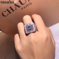 ingrosso grandi anelli solitari-Vecalon Luxury Male Solitaire ring 3ct Diamond 925 Sterling Silver Fidanzamento Fedi nuziali per gli uomini Gioielli dito grande