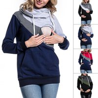 Wholesale casual summer maternity clothes for sale - Group buy 4 colors optional Maternity Clothes Pregnant Mother Stitching Hoodies Long Sleeved T shirt Maternity Breastfeeding Sweater Clothing dc011