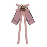 moda kumaş broşlar toptan satış-Moda Tasarımcısı Broşlar Retro Yüksek Dereceli Bronz Böcek Broş Alaşım Arı Kumaş Pimleri Kadınlar Takı Pembe Toptan