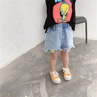 Wholesale cute cat pants resale online - Youyou cat and Hot pants jeans rice early summer smiling face cute loose sand wash all match children s jeans hot pants