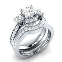anéis de zircônio mulheres venda por atacado-2019 Anel das Mulheres Novas de Prata incrustada Zirconium Lovers Combinação Atacado para o Dia Dos Namorados Lembrança Do Casamento