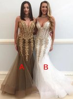 Wholesale corset spaghetti resale online - 2019 Spaghetti Straps Lace Mermaid Long Prom Dresses Tulle Lace Beaded Corset Sweep Train Formal Party Evening Gowns BC1537