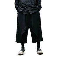 pantalones anchos al por mayor-2019 Hombres Punk Pantalones Harem Pantalones holgados para hombre Pantalones anchos de piernas Pantalones masculinos negros Pantalones cruzados Jogger Danza Hiphop Hombre Pantalon