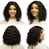 Wholesale curly human hair full lace wigs online - Deep Curly Human Hair Wig Brazilian Short Bob Lace Front Human Hair Wigs For Black Women Full and Thick