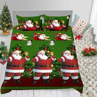Wholesale christmas bedding sale resale online - Santa Claus Print Bedding Set King Hot Sale Classic Duvet Cover Queen Christmas Full Twin Double Single Bed Cover with Pillowcase