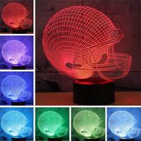 casa do mouse 3d venda por atacado-presentes DHL Futebol Amizade 3D LED Night Light 7 Cor Mudar edifício USB Optical Illusion Home Decor abajur Novidade Iluminação
