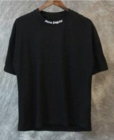 top camisa de algodón para hombre al por mayor-2019 Palm Angels Camiseta Blanco Negro Letras Imprimir Verano Tees Hombres Mujeres algodón de gran tamaño Camiseta Hip Hop Street Tops