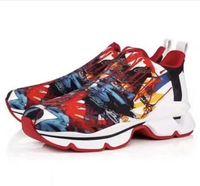 elbise ayakkabıları ani toptan satış-Moda Lüks Kırmızı Alt Erkekler Kadınlar Casual Spike Perçinler Rhinestone Ayakkabı Elbise Parti Yürüyüş Ayakkabıları Sneakers Chaussures De Spor 35-46