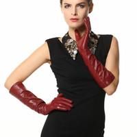 Wholesale long sheepskin leather gloves for sale - Group buy 2019 New Arrival cm Long Women Gloves Fashion Opera Real Genuine Leather Warm Solid Sheepskin Glove EL018NN