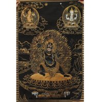 mural de buda venda por atacado-Silk Mahakala WenShu 4 mãos 4 braços Chenrezig Buddha Tangka Thangka Mural