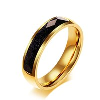 Wholesale womens gold wedding bands for sale - Group buy Womens Men s Fashion Jewelry Blue Sandstone Gold plated Stainless Steel Ring Engagement Wedding Band