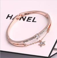 brazalete de amor al por mayor-De moda de lujo bohemio pulseras brazaletes de oro rosa marca de acero inoxidable para mujer Pentagram Love Charm Bracelet para mujeres joyería