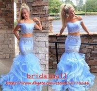 Wholesale prom dress gray lovely for sale - Lovely Sky Blue Appliqued Satin Mermaid Prom Dresses Tiered Ruffles Tulle Long Formal Evening Gowns Two Pieces Party Dress Pageant Ball
