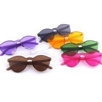 mujer gafas de sol con montura gruesa al por mayor-DHL Ship Colorful Fashion Sunglasses para mujeres y hombres gafas sin montura marco grueso de metal bisagra buena calidad 9803