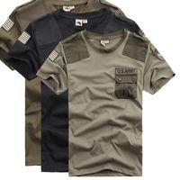 remiendo bolsillo camisetas al por mayor-Idopy Summer Men`s Us Patchwork Pocket Camisetas de secado rápido Combate Estilo militar Camisetas Tees para hombres frescos Y19060601