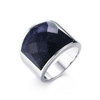 18k gold schwarzer onyx ring großhandel-2019 starry sky Herrenring 316L Titanium Stahlring Schwarzer Onyx-Ring verblassen niemals herrschsüchtiges, weißes Silber. Weihnachtsgeschenk