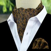 lenço de smoking venda por atacado-Marca de moda Homens lenço Cravat Set Padrão de Paisley De Seda Senhores Gravata Tie Ascot Bowtie Tuxedo Do Casamento