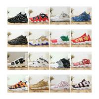 precio de los zapatos rojos al por mayor-¡Precio especial! Barato Air More Uptempo zapatos de baloncesto para hombre tricolor Lo que el Reino Unido Italia Doernbecher Red Wheat diseñador zapatillas 40-46