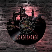 led beleuchtete wanduhr groihandel-2019 Stück London City LED Vinyl Uhr Licht Farbwechsel Wandleuchte Fernbedienung LP Moderne Hintergrundbeleuchtung Coole Wohnzimmer Interieur