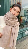 tartán chal coreano al por mayor-Bufanda de lana gruesa Mujer salvaje del invierno versión coreana caliente de la doble otoño mantón del aire acondicionado grande Pareja collar Estudiante