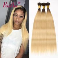 613 platin sarışın saç uzatma toptan satış-1B 613 Ombre Sarışın Brezilyalı Düz Saç Demetleri Iki Ton Koyu Kökleri Platin İnsan Saç Dokuma Ruiyu 3 Demetleri Sarışın Remy Saç Uzatma