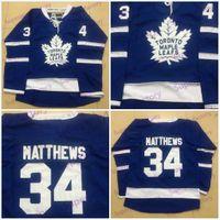 camisas grandes venda por atacado-Juventude 34 Auston Matthews Toronto Maple Leafs azul Jerseys Stiched Hockey Jerseys barato Em estoque grandes vendas frete grátis