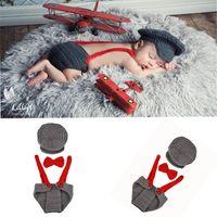 новорожденные фотографии ребенка мальчик оптовых-Пилот мальчик фотографии набор детская шляпа ручной работы фотографии 3 шт. Набор Baby новорожденных одежда творческий сфотографировать Проф