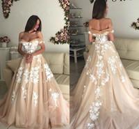 Wholesale romantic off shoulder wedding dresses for sale - Romantic A Line Champagne Wedding Dresses Elegant Off Shoulder Backless Applique Tulle Long Bridal Gowns Lace up Back BC1061