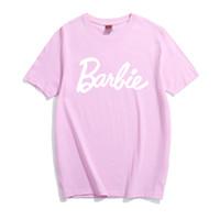 kadın tişörtleri toptan satış-2019 Barbie Mektup Baskı Pamuk T-Shirt Kadın Seksi Tumblr Grafik tee pembe gri t gömlek Casual tişörtleri Bae Kıyafetler tees Tops gömlek