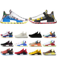 Wholesale human race red shoes for sale - Human Race Mens Women Running Shoes Pharrell Williams Solar Pack Afro hu Nerd black cream mens trainer Sport Sneakers Size